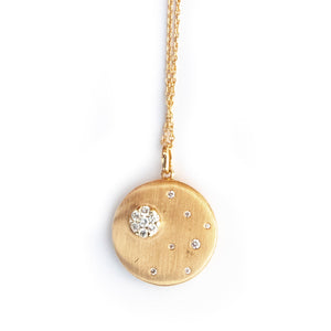 Cluster Necklace - 18K Yellow Gold with Diamonds.