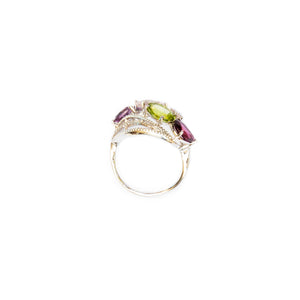 Colorful Stones Ring - 18 Karat white Gold ring with Diamonds and semi precious stones.  size 54