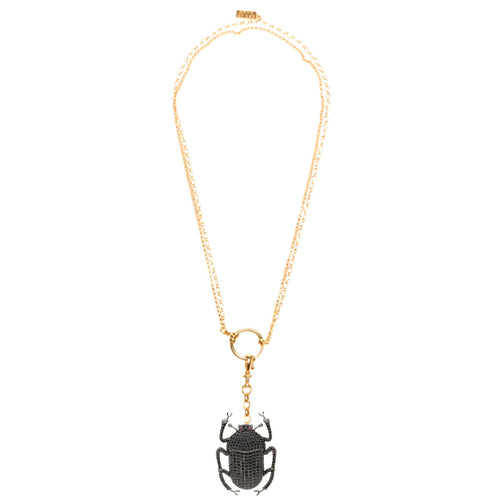 Khepri Necklace - Gold-plated Brass  Stones: Root black Quartz Dimensions: 4.1 X 2.8 cm  Hand- crafted in Istanbul
