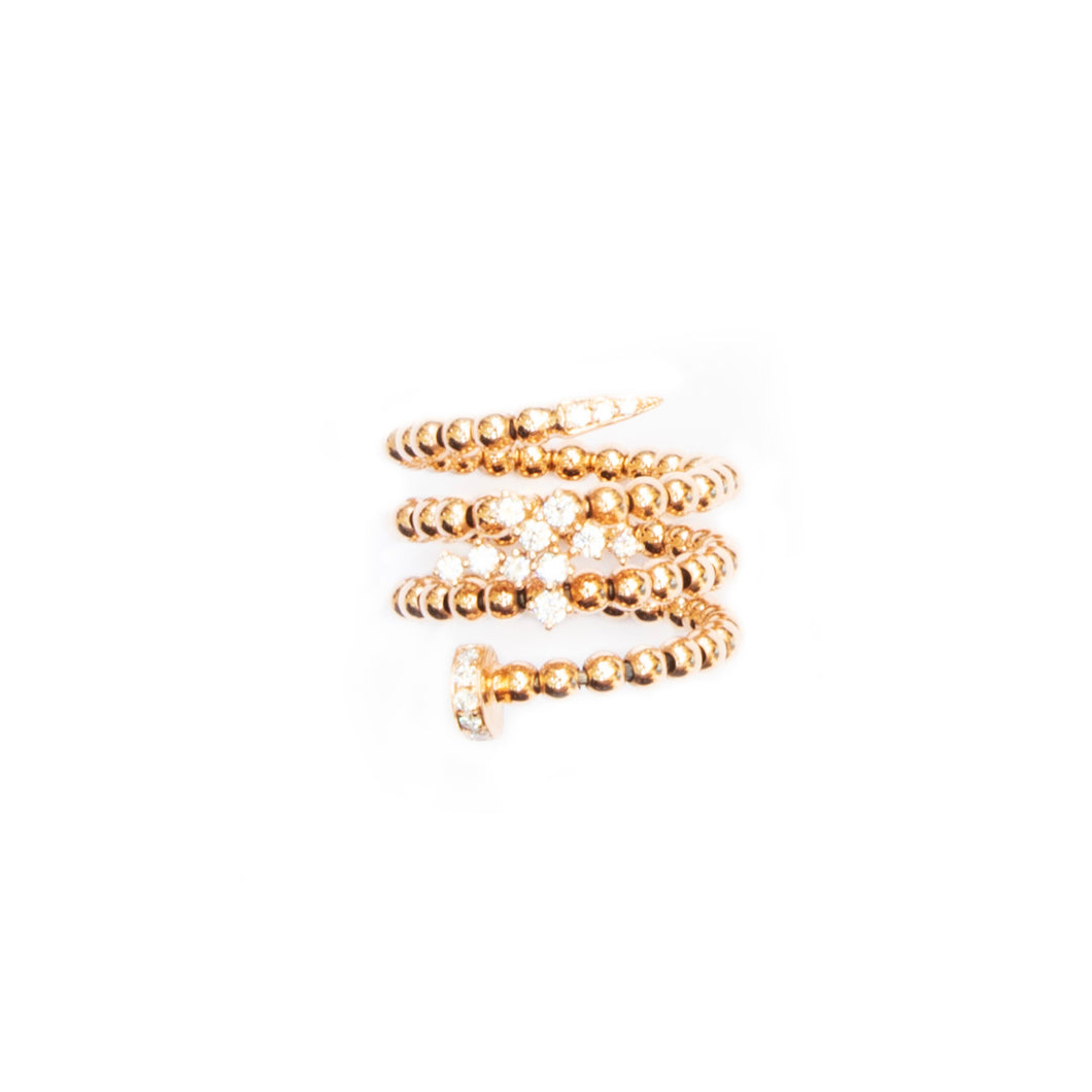 The Snake Ring - 18 Karat yellow Gold with Diamonds ring.   size 54/55