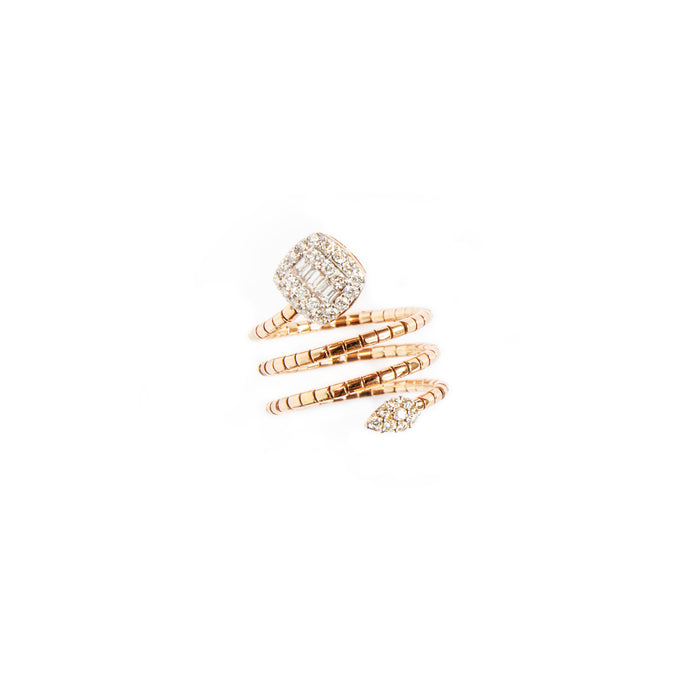 Stone Snake Ring - 18 Karat Gold with Baguettes & Diamonds ring.  size 54