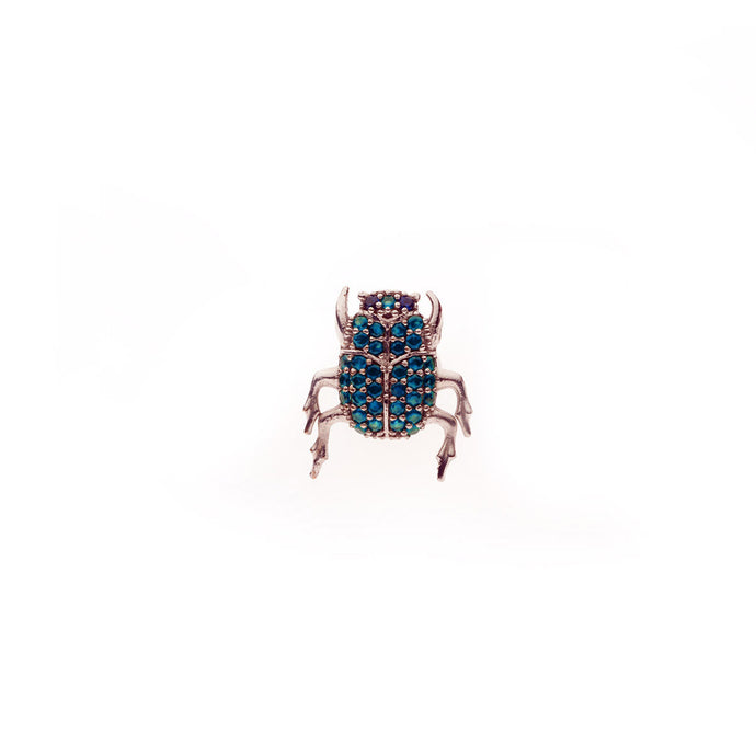 Scarab Pin - Metal: Bronze Stones: Root Saphire  Hand-crafted in Istanbul