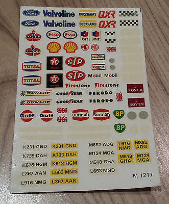 Scalextric Classic Vintage Stickers Decals Transfers M1217