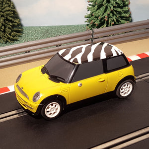 Scalextric 1:32 Car - C2820 Yellow Mini Cooper With Zebra Print Roof #M