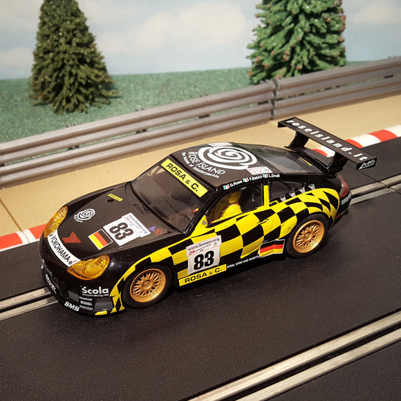Scalextric 1:32 Car - C2338 Black Porsche 911 GT3R #83 Rose Island *LIGHTS* #M