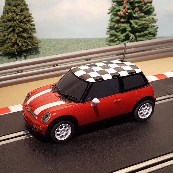 Scalextric 1:32 Digital Car - Red Mini Cooper With Chequered Roof