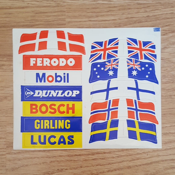 Scalextric Classic Vintage Flag & Barrier Stickers