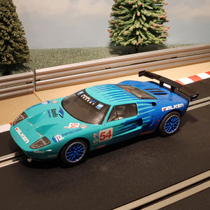 Scalextric 1:32 Car - C3136 Blue Ford GT40 Black Swan Racing *LIGHTS* #54 #M