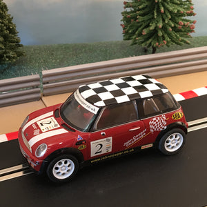 Scalextric 1:32 Car - Red Mini Cooper With Chequered Roof #2 *LIGHTS* #B