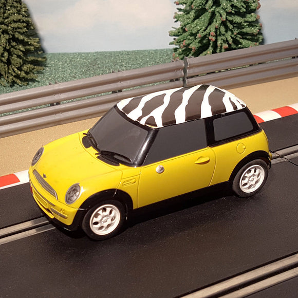 Scalextric 1:32 Digital Car - C2820D Yellow Mini Cooper With Zebra Print Roof #M