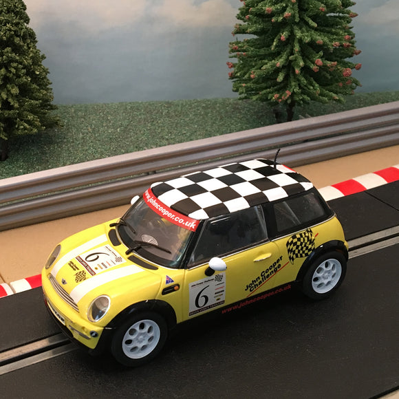 Scalextric 1:32 Car - C2485A Yellow Mini Cooper Chequered Roof *LIGHTS* #6 #A