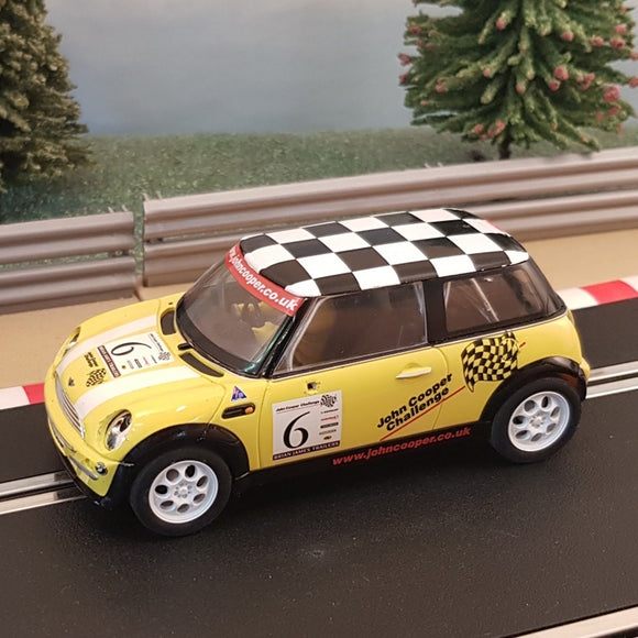 Scalextric 1:32 Car - C2485A Yellow Mini Cooper Chequered Roof *LIGHTS* #6 #MWL
