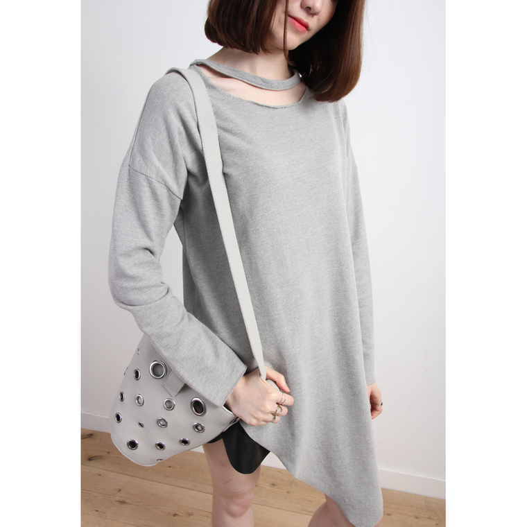 Asymmetric Cut-Out Neck Jersey Top