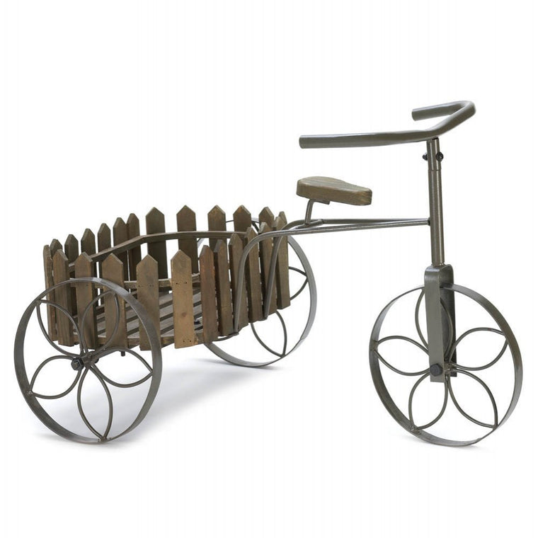 Charming Wood And Iron Tricycle Planter - duzuu