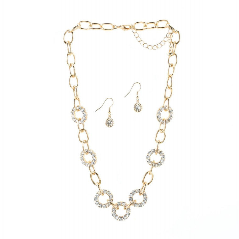 Crystal And Golden Links Necklace And Earrings Jewelry Set - duzuu