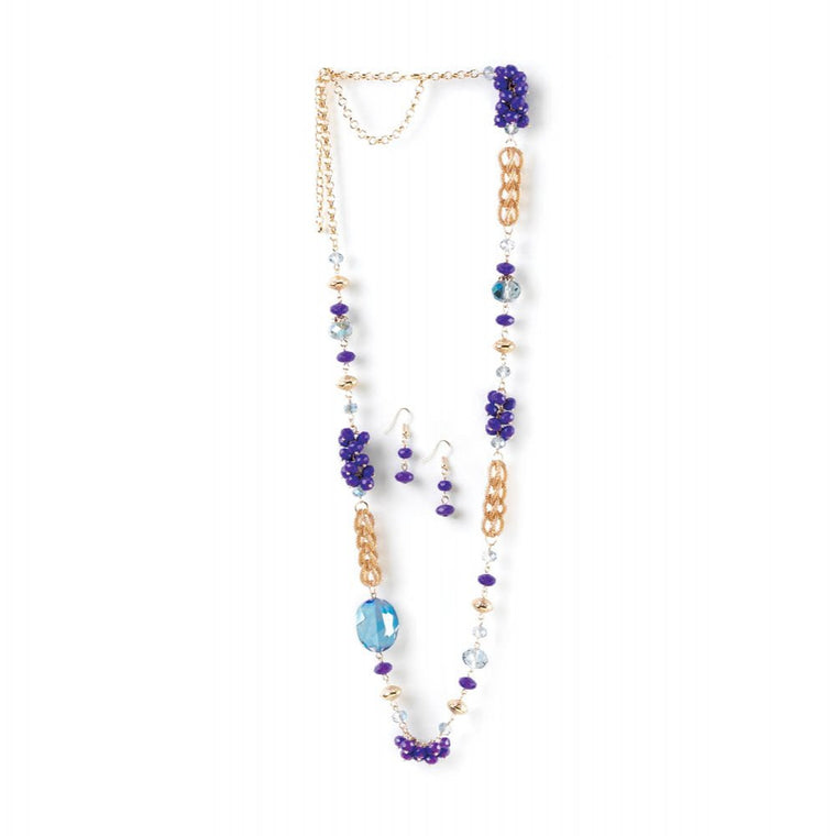 Beaded Radiant Orchid Long Chain Necklace And Earrings Set - duzuu