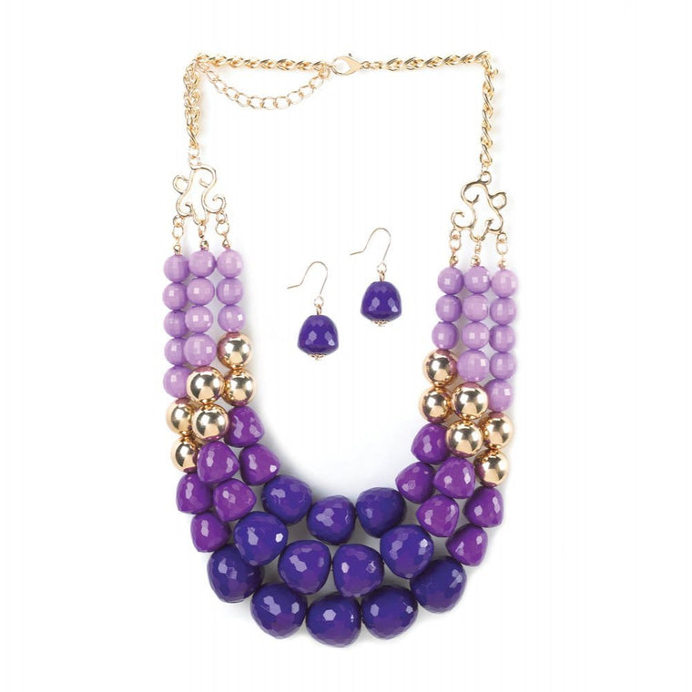 Radiant Orchid 3 Layer Beads Necklace And Earrings Jewelry Set - duzuu
