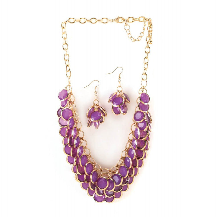 Radiant Orchid Fish Scale Necklace And Jewelry Set - duzuu