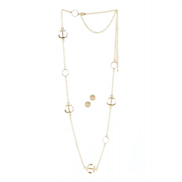 Anchors Nautical Necklace And Earrings Jewelry Set - duzuu