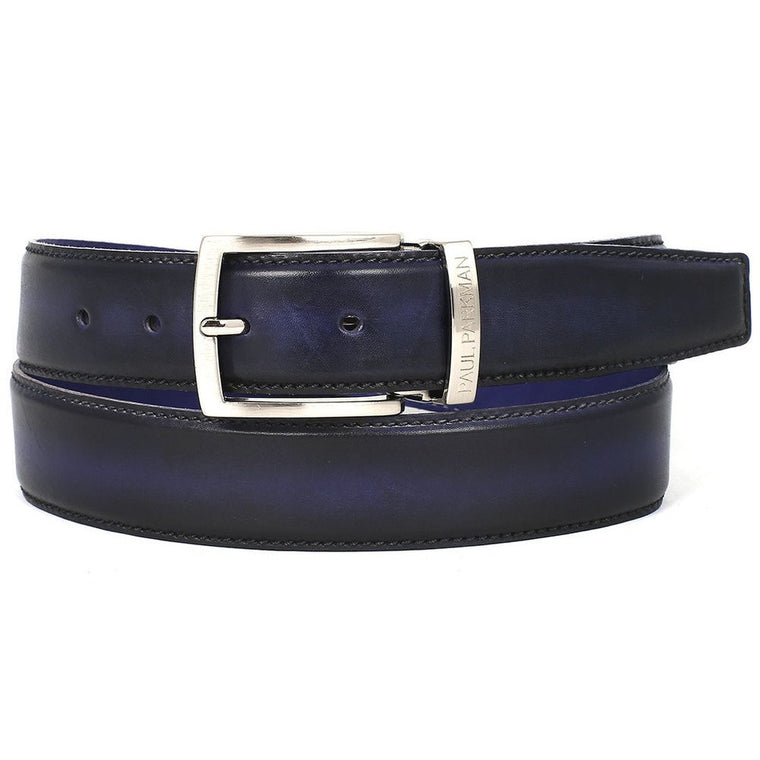 PAUL PARKMAN Men's Leather Belt Dual Tone Navy & Blue (ID#B01-NVY-BLU)