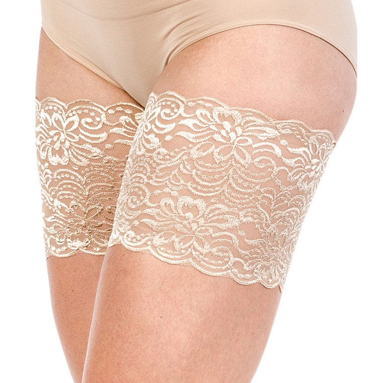 "Bandelettes JASMINE BEIGE -Elastic Anti Chafing Thigh Bands 6"" in length"