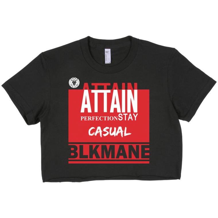 Attain Perfection Crop Top Black & Red