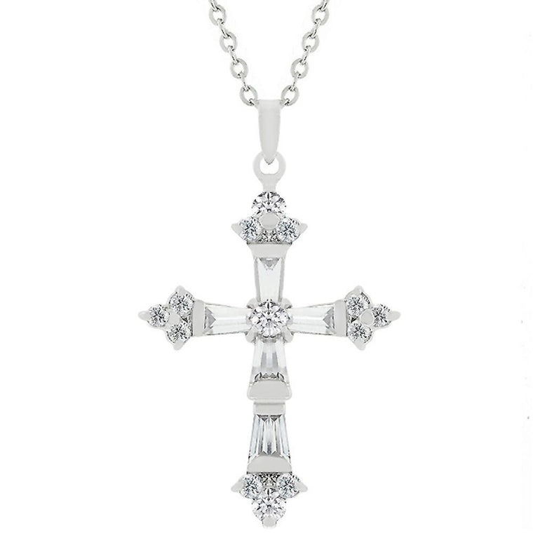 Brilliant Cz Cross Pendant - duzuu