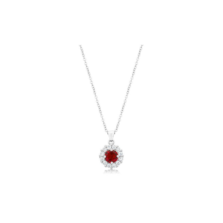 Bella Bridal Pendant In Ruby Red - duzuu