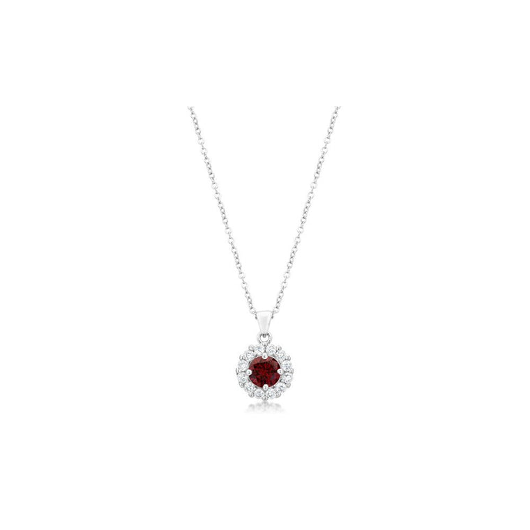 Bella Bridal Pendant In Garnet Red - duzuu