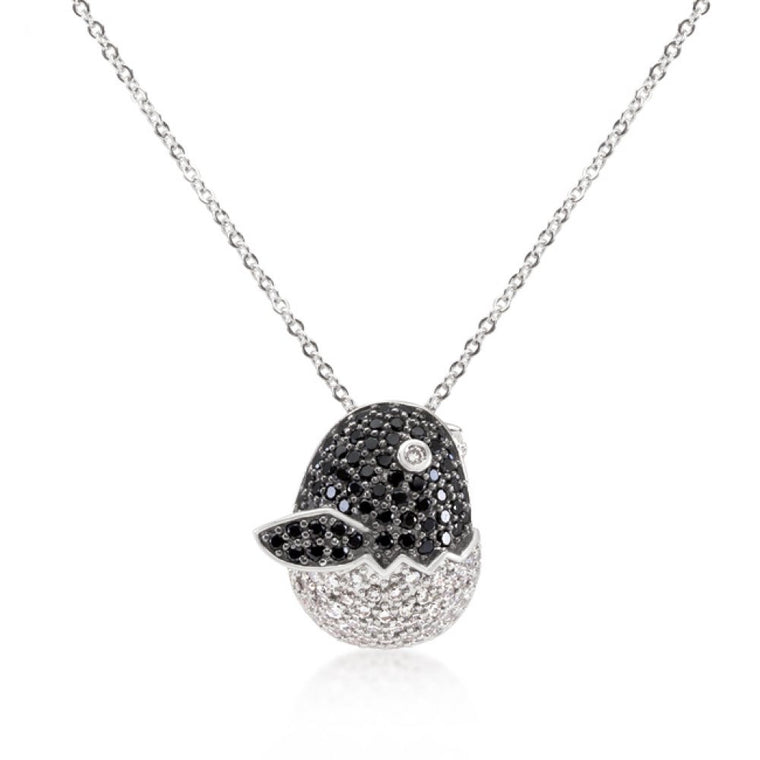 Black And White Cz Baby Bird Pendant - duzuu