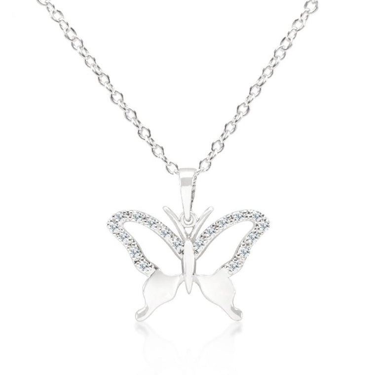 Cz Butterfly Pendant Necklace - duzuu