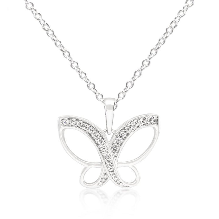 Dainty Butterfly Cz Pendant Necklace - duzuu