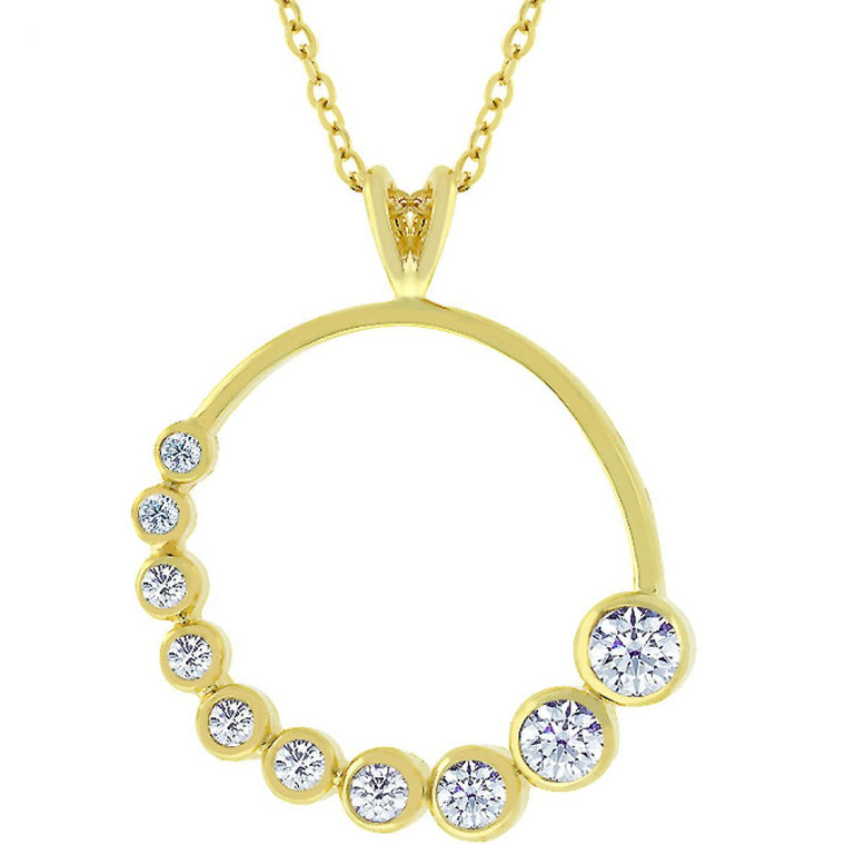 Golden Graduated Cubic Zirconia Circle Pendant - duzuu