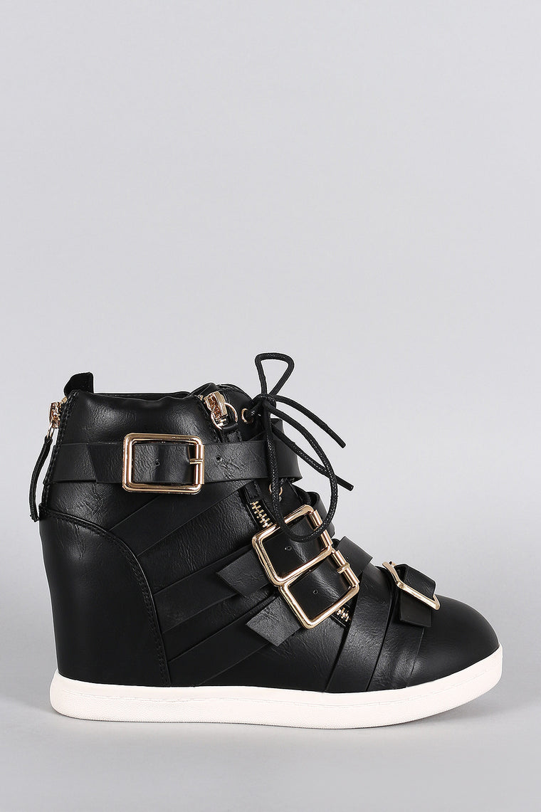 Multi Buckle Strap Lace Up Round Toe High Top Wedge Sneaker - duzuu