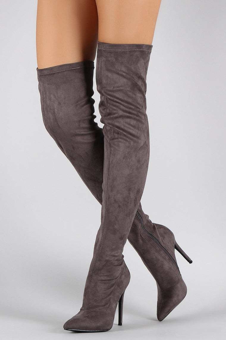 Liliana Suede Pointy Toe Stiletto Over-The-Knee Boots - duzuu