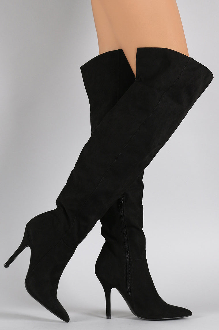 Qupid Suede Pointy Toe Over-The-Knee Stiletto Boots - duzuu