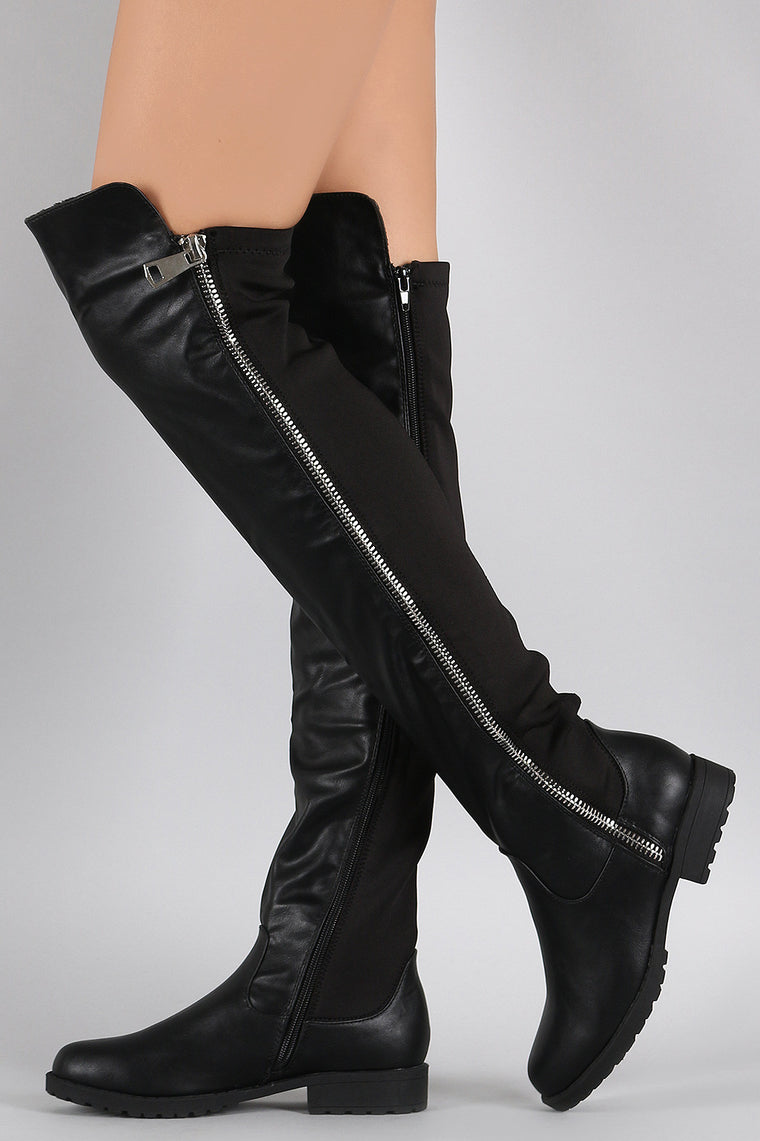 Bamboo Zipper Stretchy Over-The-Knee Riding Boots - duzuu