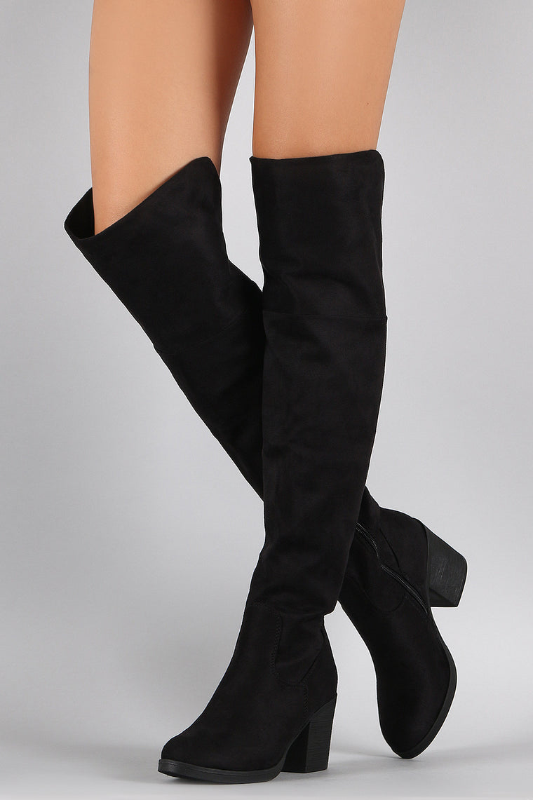 Bamboo Suede Folded Cuff Chunky Heeled Riding Boots - duzuu
