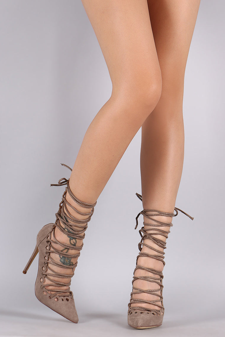 Liliana Suede Pointy Toe Lace Up Stiletto Pump - duzuu