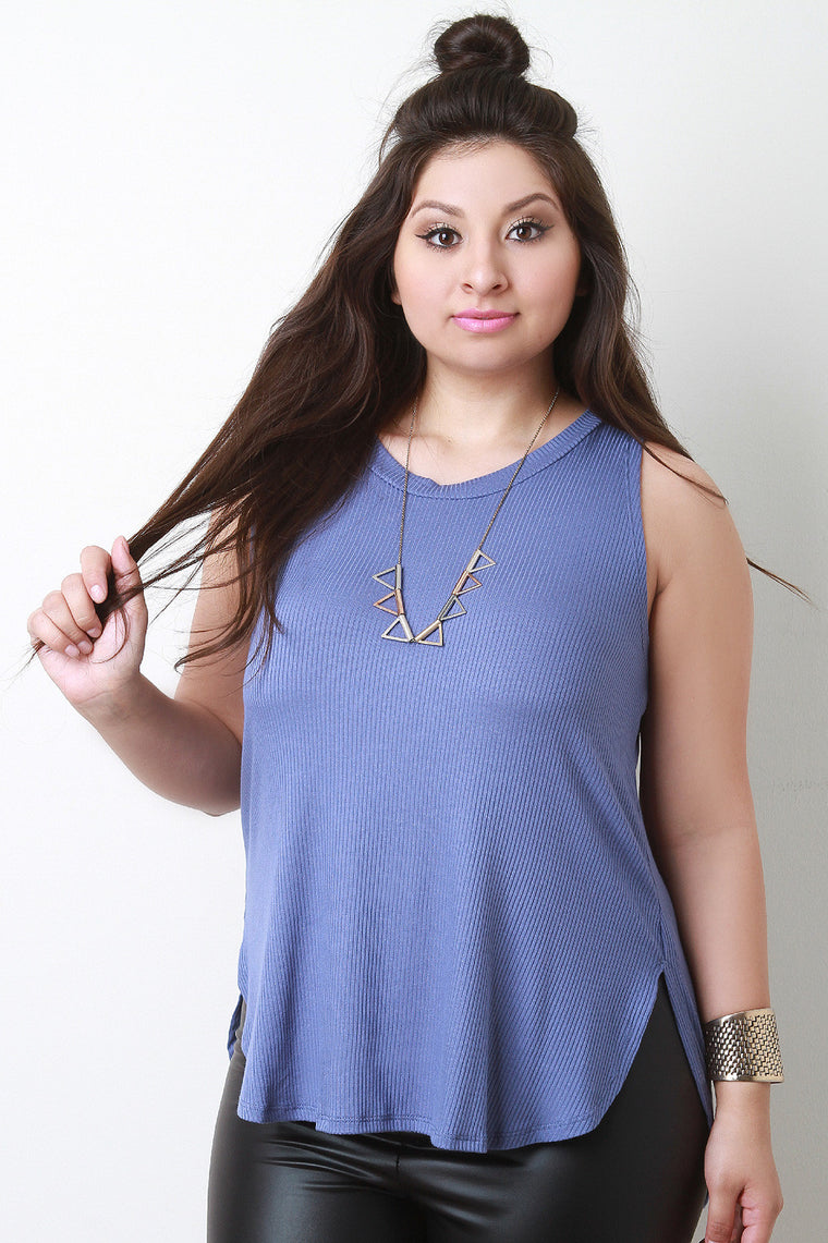 Casual Sleeveless Ribbed Knit Top - duzuu