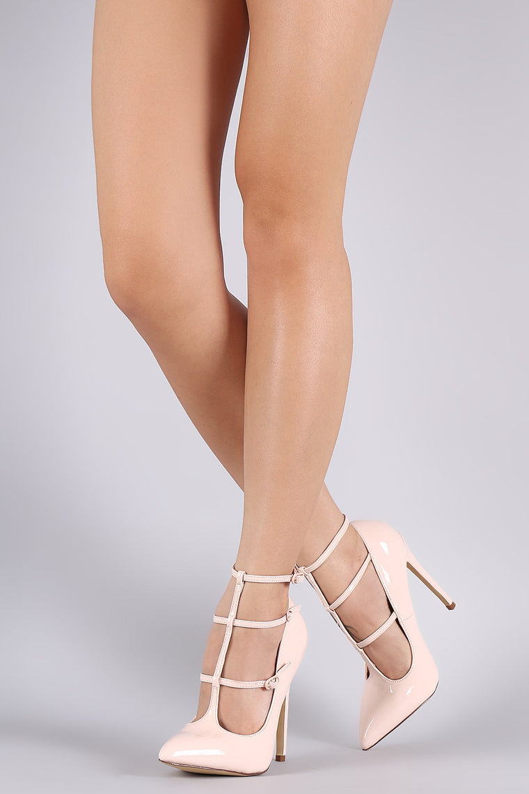 Liliana Pointy Toe T-Strap Pump - duzuu