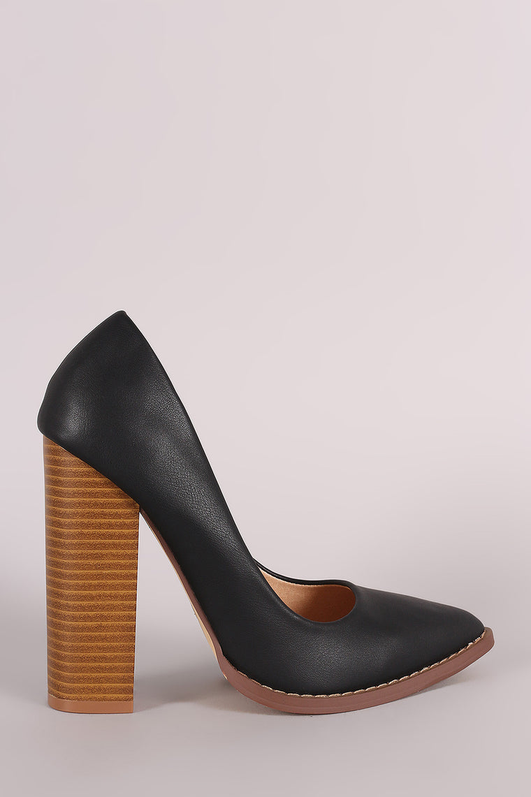 Liliana Pointy Toe Chunky Heeled Pump - duzuu
