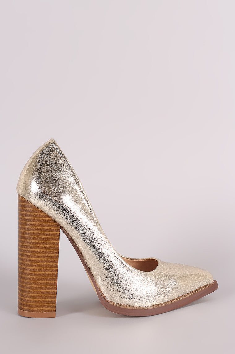 Liliana Metallic Pointy Toe Chunky Heeled Pump - duzuu