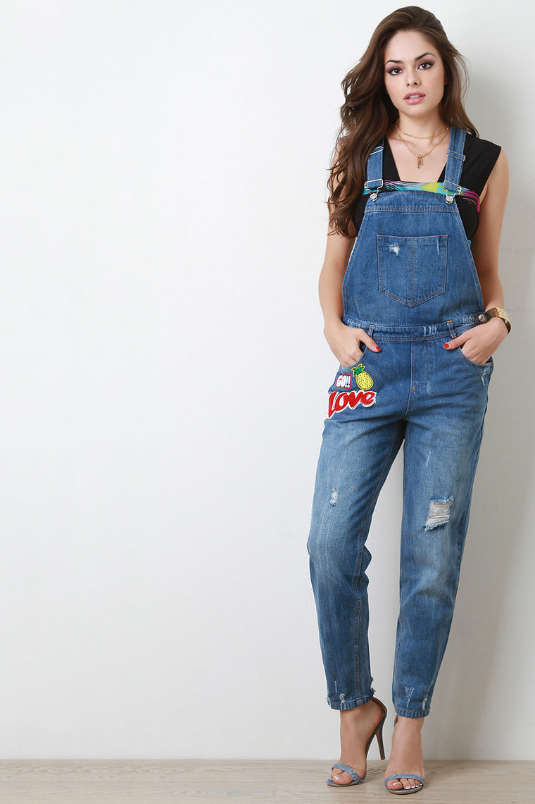 Distressed Faded Patch Overalls - duzuu