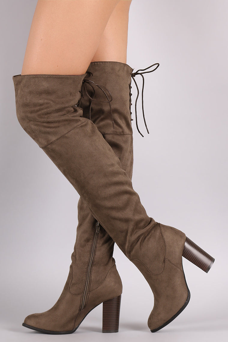 Qupid Suede Back Lace-Up Chunky Heeled Over-The-Knee Boots - duzuu