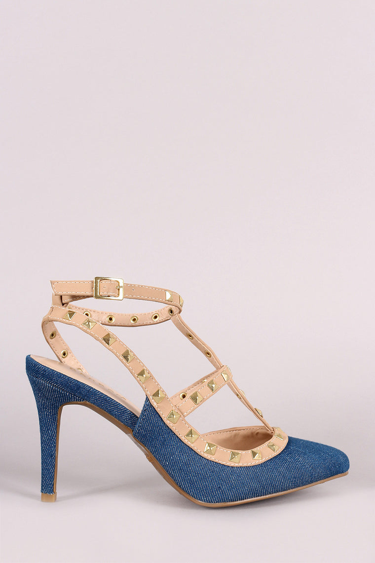 Bamboo Pointy Toe Studded Cage Pump - duzuu