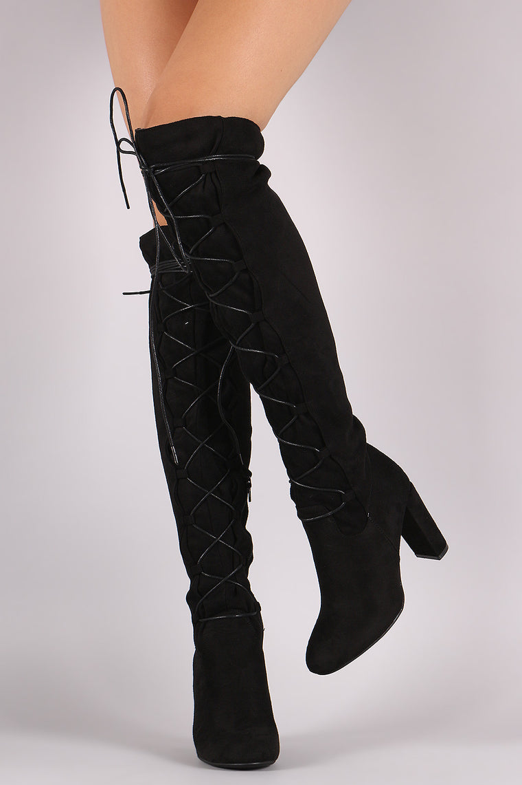 Qupid Suede Lace-Up Chunky Heeled Boots - duzuu