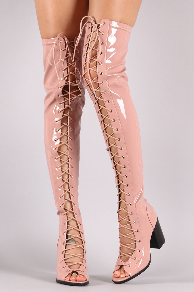 Patent Lace Up Chunky Heeled Over-The-Knee Boots - duzuu
