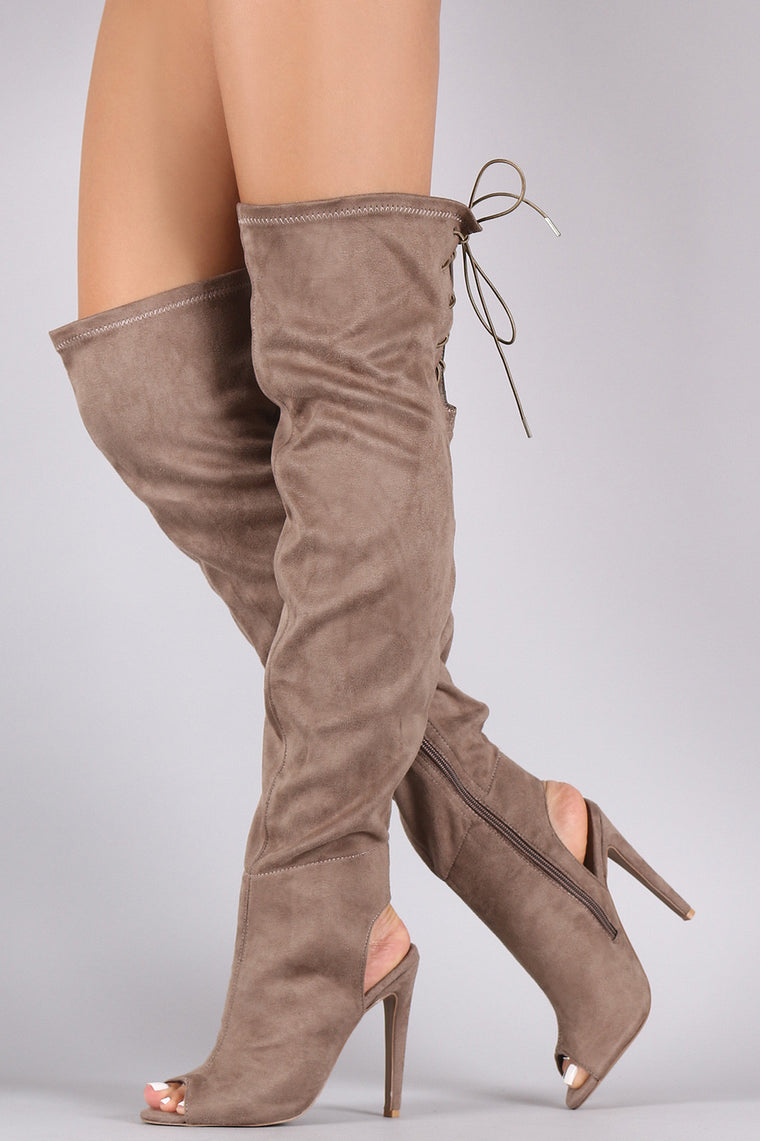 Qupid Suede Peep Toe Over the Knee Boots - duzuu