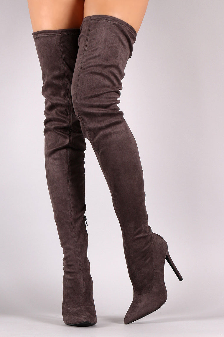 Liliana Suede Over The Knee Pointy Toe Boots - duzuu